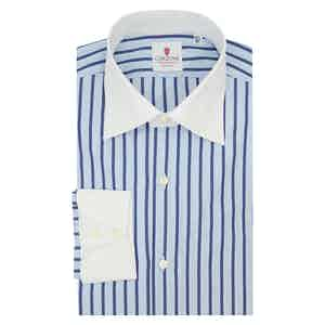 Azure and Blue Cotton Cam Striped Shirt