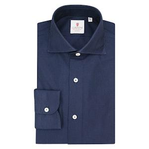 Navy Blue Cotton Giro Inglese Shirt