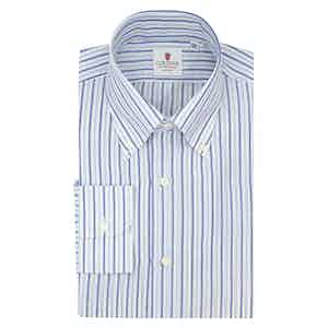White and Azure Cotton and Linen Zevi Striped Shirt