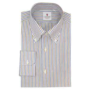 White Brown and Blue Cotton and Linen Zevi Striped Shirt