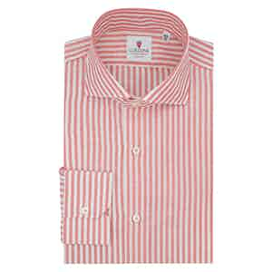 White and Red Cotton and Linen Big Zevi Striped Shirt