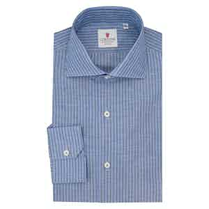 Blue Royal Voile and Grey Cotton and Linen Shirt