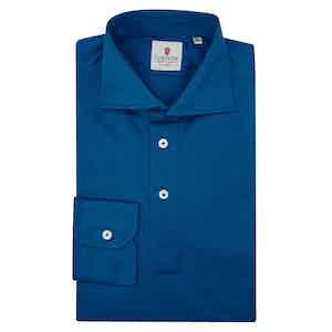 Navy Cotton Long Sleeve Polo Shirt