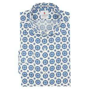 Blue and White Cotton Seersucker Shirt