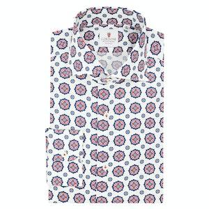 White and Red Cotton Seersucker Shirt