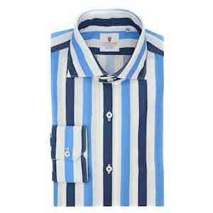 White and Azure Cotton Giro Inglese Big Striped Shirt