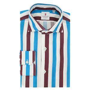 White Bordeaux and Azure Cotton Giro Inglese Big Striped Shirt