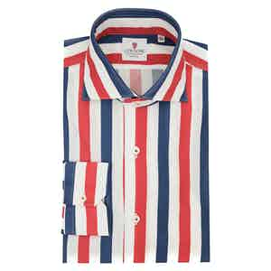 White Blue and Red Cotton Giro Inglese Big Striped Shirt