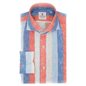 Azure and Red Linen Big Striped Shirt