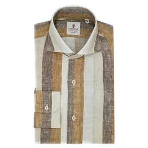 White Beige and Brown Linen Big Striped Shirt