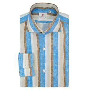 Azure Brown and Beige Linen Striped Shirt