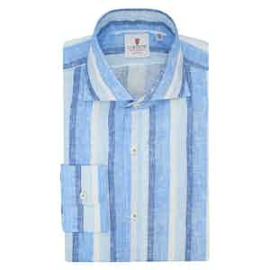 Azure Blue and Turquoise Linen Striped Shirt
