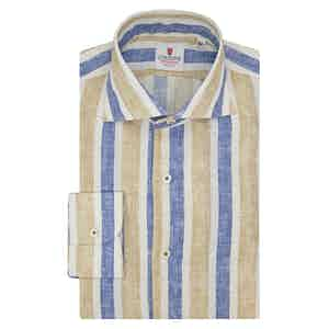 Blue Beige and White Linen Striped Shirt