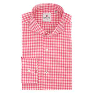 White and Strawberry Cotton Gingham Classic Shirt