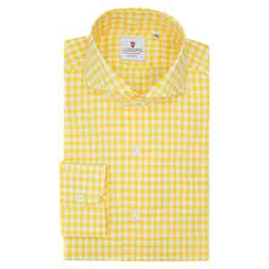 White and Yellow Cotton Gingham Classic Shirt