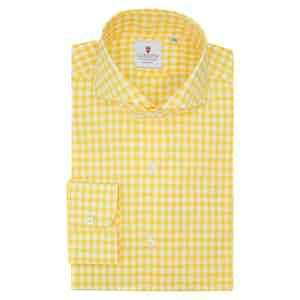 White and Yellow Cotton Gingham Classic Shirt