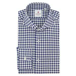 White and Blue Cotton Gingham Classic Shirt