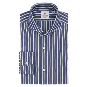 Blue and White Cotton Big Striped Classic Shirt