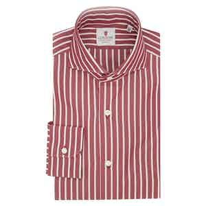 Red and White Cotton Big Striped Classic Shirt