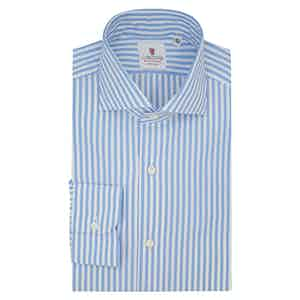 White and Azure Cotton Striped Classic Shirt