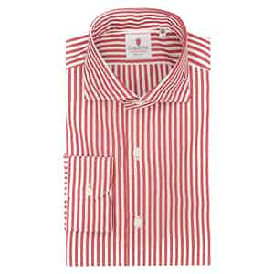 White and Red Cotton Striped Classic Shirt