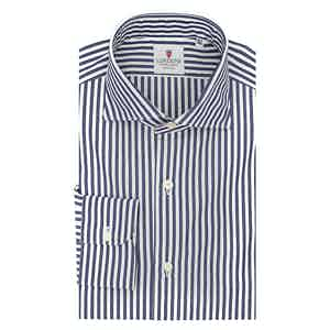 White and Blue Cotton Striped Classic Shirt
