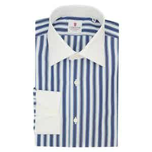 White and Blue Cotton Multi Striped Classic Shirt