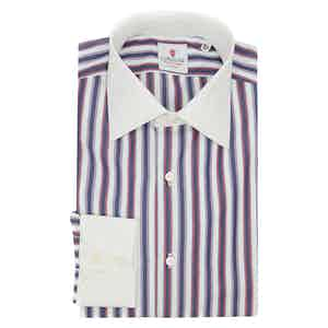White and Red Cotton Multi Striped Classic Shirt