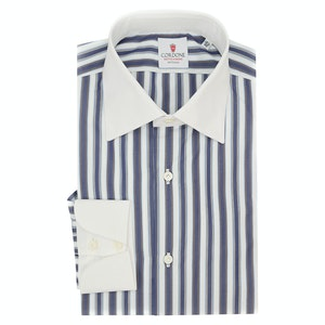 White and Brown Cotton Multi Striped Classic Shirt