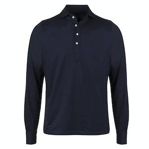 Navy Cotton Pop Over Long Sleeve Shirt