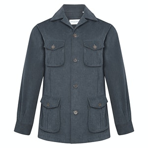 Navy Cotton Drill Relaxed Field Jacket