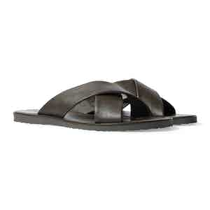 Adriano Brown Calf Leather Crossover Sandals