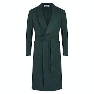 Dark Green Silk Wool and Linen Blend Palm Leaf Resort Dressing Gown
