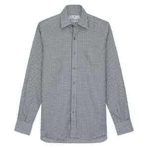 Grey Cotton Check with Derby Collar and 1-Button Cuffs Weekend Fit Flannel Shirt