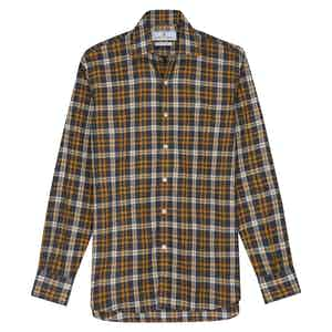 Yellow Cotton Check with Derby Collar and 1-Button Cuffs Weekend Fit Flannel Shirt