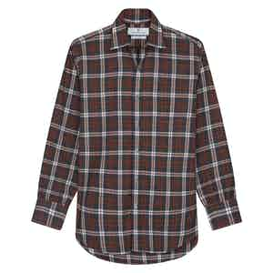 Rust Cotton Check with Derby Collar and 1-Button Cuffs Weekend Fit Flannel Shirt