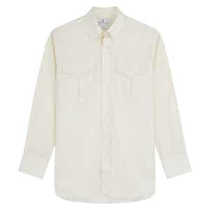 White Superfine Cotton Herringbone with Dorset Collar and 1-Button Cuffs Weekend Fit Shirt