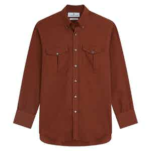 Burgundy Cotton and Cashmere with Dorset Collar and 1-Button Cuffs Weekend Fit Shirt
