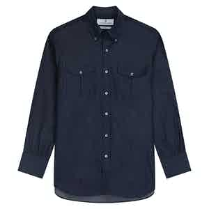 Navy Cotton Chambray with Dorset Collar and 1-Button Cuffs Weekend Fit Shirt