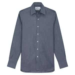 Plain Blue Cotton Oxford with Derby Collar and 1-Button Cuffs Weekend Fit Shirt
