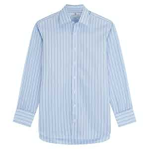 Green Cotton Stripe with T&A Collar and Double Cuffs Regular Fit Shirt