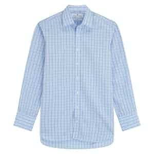 Green Cotton Graph Check with T&A Collar and 3-Button Cuffs Regular Fit Shirt