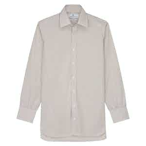 Sand Cotton Bengal Stripe with T&A Collar and 3-Button Cuffs Regular Fit Shirt