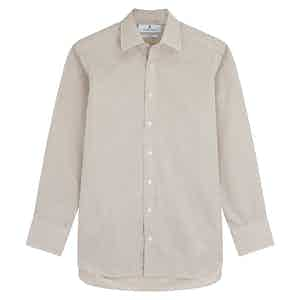 Sand Cotton Gingham Check with T&A Collar and 3-Button Cuffs Regular Fit Shirt
