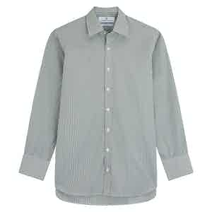 Khaki Cotton Gingham Check Regular Fit with T&A Collar and 3-Button Cuffs Shirt