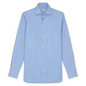 Powder Blue Cotton Stripe with Kent Collar and 2-Button Cuffs Tailored Fit Shirt