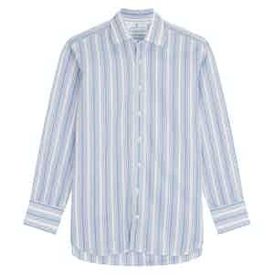 Blue Cotton Multi Stripe with T&A Collar & 3 Button Cuffs Regular Fit Shirt