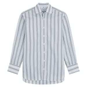 Green Cotton Multi Stripe with T&A Collar & 3 Button Cuffs Regular Fit Shirt