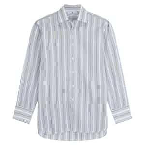 Sand Cotton Multi Stripe with T&A Collar & 3 Button Cuffs Regular Fit Shirt