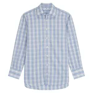Tonal Blue Cotton Check with T&A Collar and 3-Button Cuffs Regular Fit Shirt